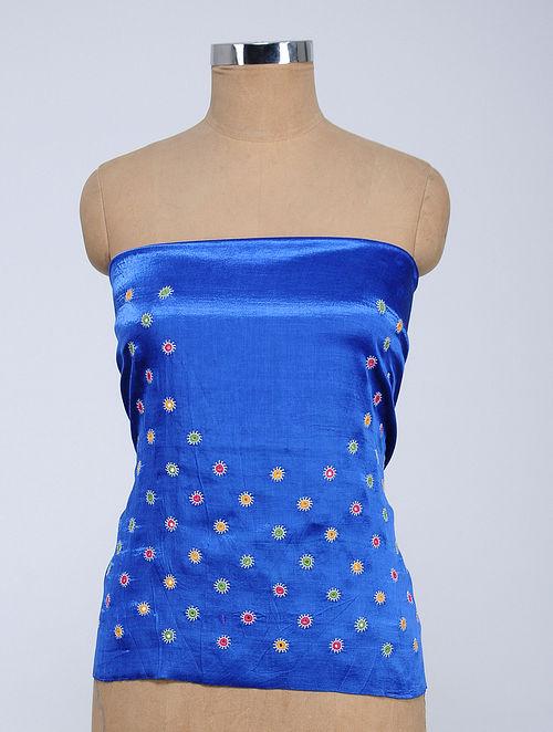91b008467d Blue Rabari-embroidered Mashru Blouse Fabric with Mirror-work. Apparel -  Fabric