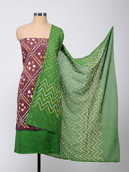 b1b43a1b08 Maroon-Green Bandhani Cotton Suit Fabric With Mirror Work Apparel - Fabric