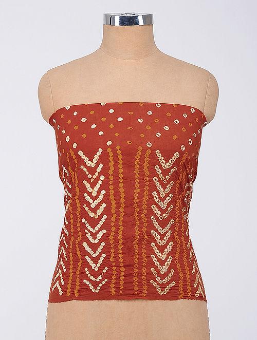 Red-Orange Bandhani Cambric Blouse Fabric