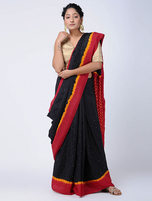 ca5fdde6c44 Buy Black-Red Bandhani Mulberry Silk Saree with Mukaish-work ...