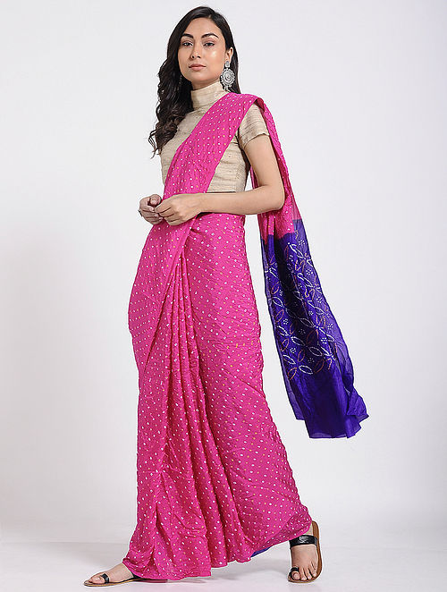 f3c242c9b6c Buy Pink-Blue Bandhani Mulberry Silk Saree Online at Jaypore.com
