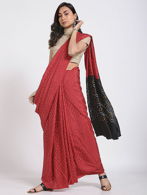 0dd84c521ce Buy Red-Black Bandhani Mulberry Silk Saree Online at Jaypore.com