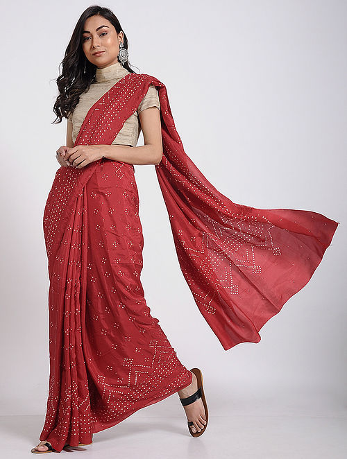 f572c021c7b Buy Red-Ivory Bandhani Mulberry Silk Saree Online at Jaypore.com