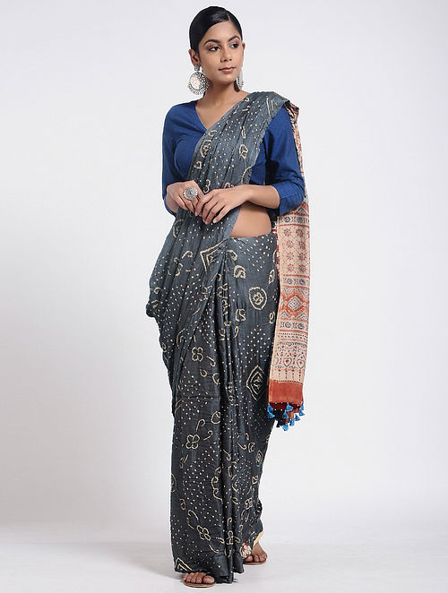 800ba24f32 Grey-Red Bandhani and Ajrakh-printed Gajji Silk Saree with Tassels ...