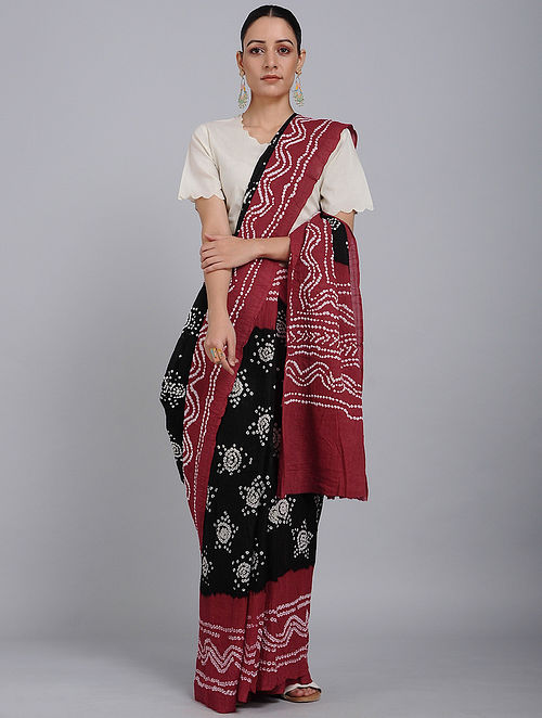 Black-Red Bandhani Mul Cotton Saree