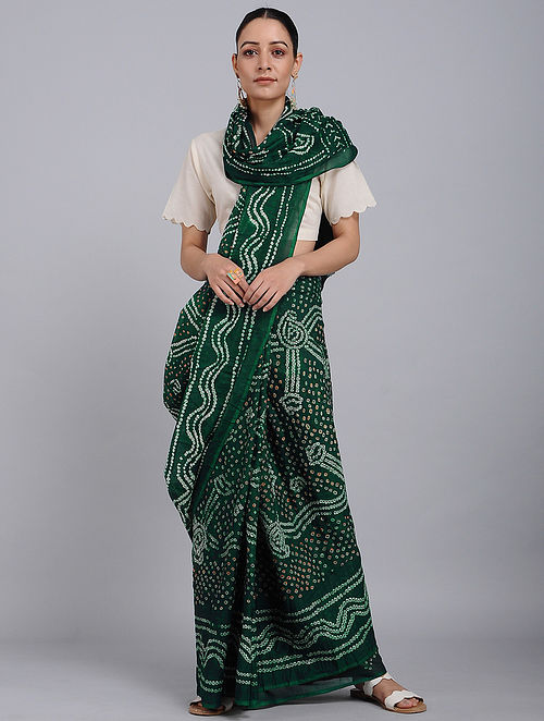 Green-Ivory Bandhani Mul Cotton Saree