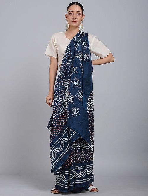 Indigo-Ivory Bandhani Mul Cotton Saree
