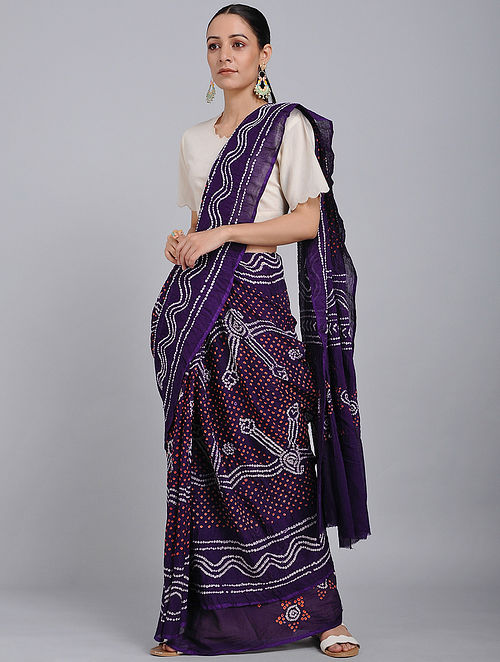 Purple-Red Bandhani Mul Cotton Saree