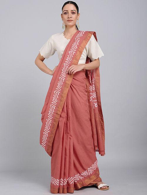 c87baa0228 Red-Ivory Bandhani Mangalgiri Cotton Saree with Mukaish Work and Zari  Tie-Dye Traditions