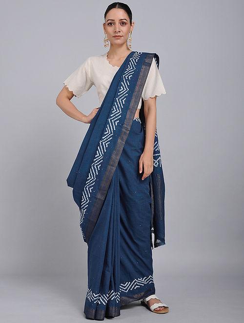 Indigo Bandhani Mangalgiri Cotton Saree with Mukaish Work and Zari