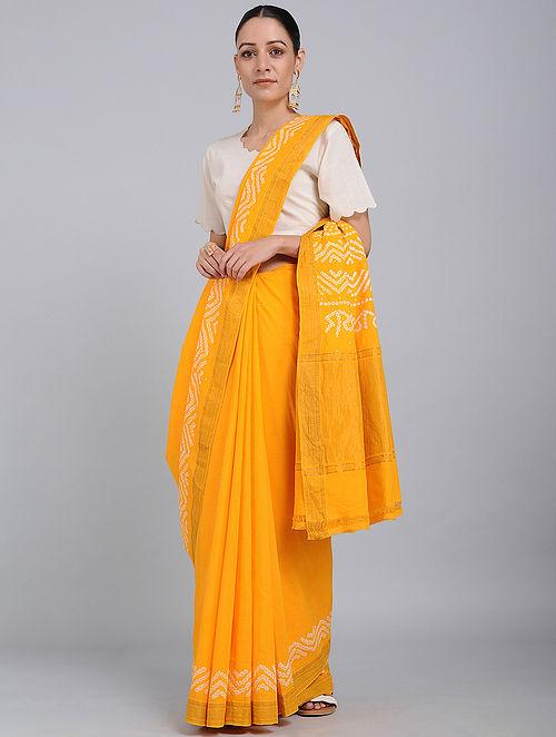 Yellow Bandhani Mangalgiri Cotton Saree with Mukaish Work and Zari