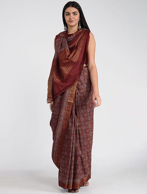 Red-Ivory Ajrakh-printed Mangalgiri Cotton Saree with Zari