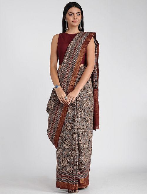 Red-Blue Ajrakh-printed Mangalgiri Cotton Saree with Zari