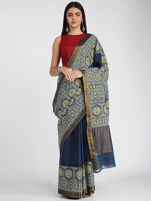 Blue-Green Ajrakh-printed Mangalgiri Cotton Saree with Zari