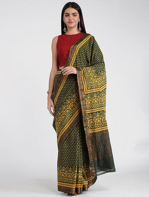 Green-Yellow Ajrakh-printed Mangalgiri Cotton Saree with Zari