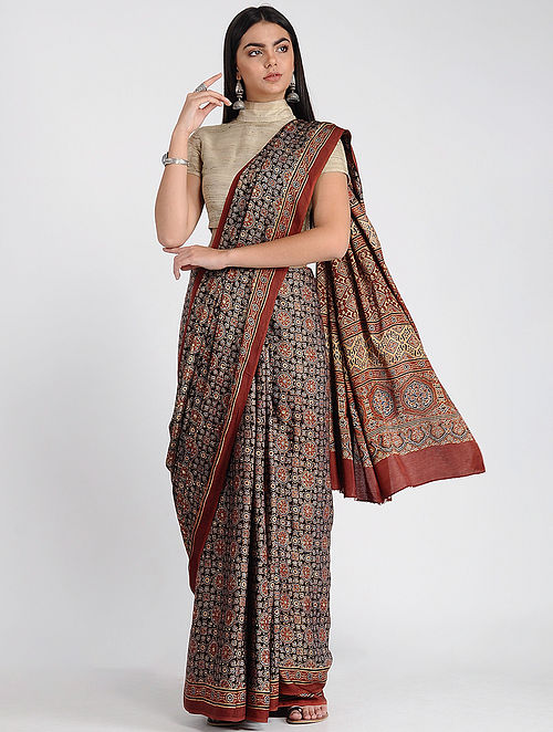 Red-Blue Ajrakh-printed Modal Cotton Saree with Zari