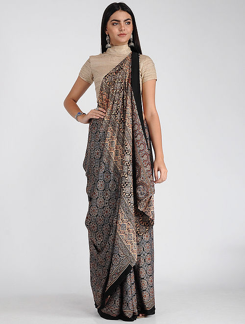 Beige-Blue Ajrakh-printed Modal Cotton Saree with Zari