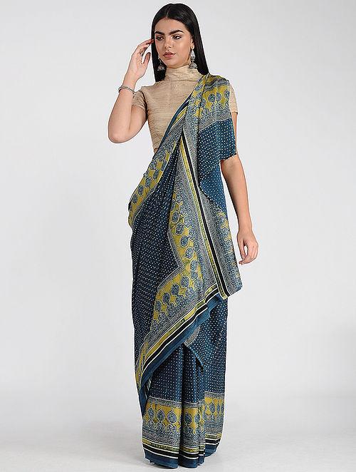 Blue-Yellow Ajrakh-printed Modal Cotton Saree with Zari