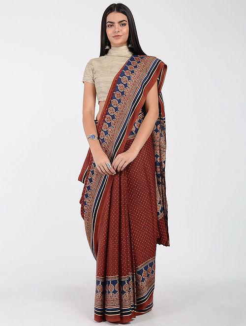 Red-Blue Ajrakh-printed Modal Cotton Saree with Zari