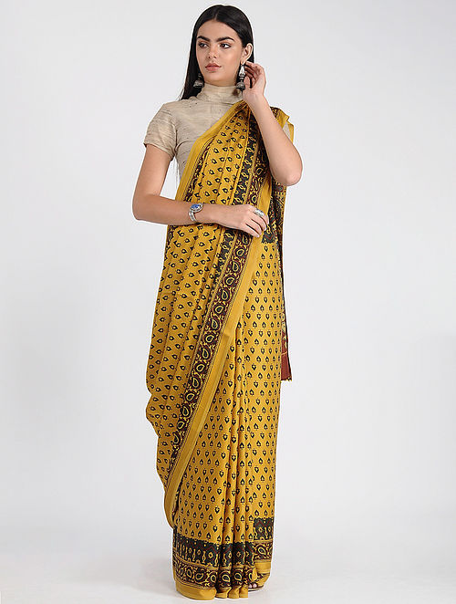 Yellow-Maroon Ajrakh-printed Modal Cotton Saree with Zari
