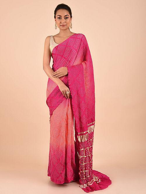 Pink-Peach Bandhani Gajji Silk Saree