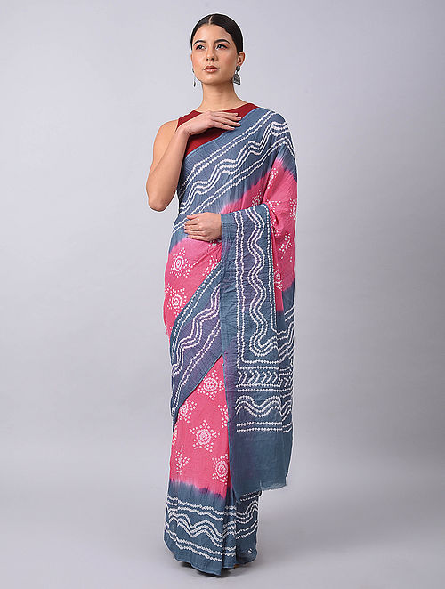Pink-Blue Bandhani Mul Cotton Saree