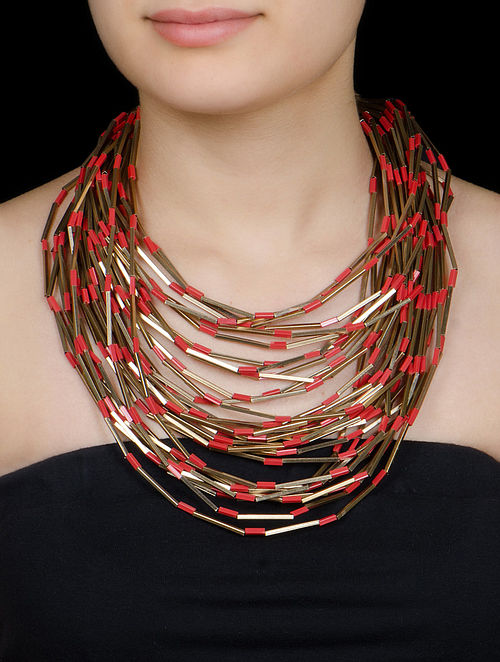 Golden - Red Stick Collier Necklace