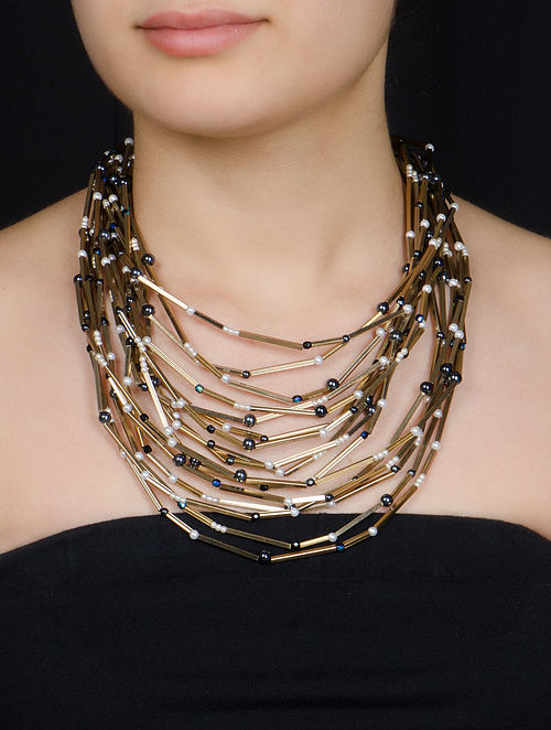 Golden - White - Black Pearl Stick Necklace