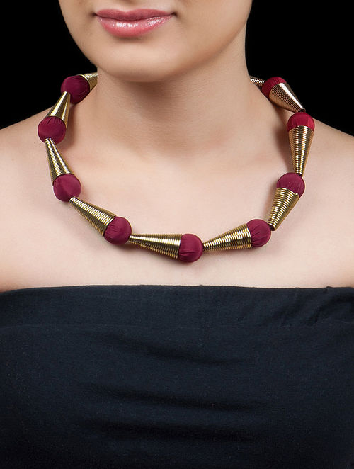 Golden - Maroon Silk Cone Collier NecklaceGolden - Maroon Silk Cone Collier Necklace