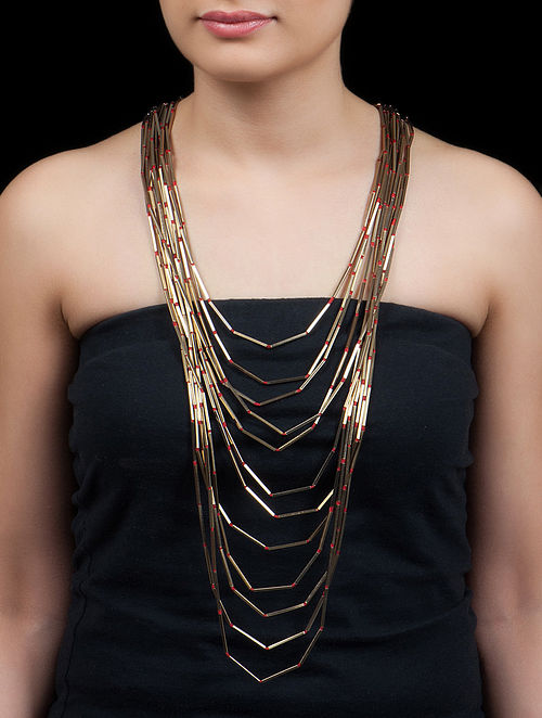Golden - Red Stick Necklace