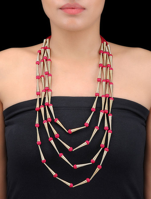 Red Multi-string Gold-plated Spring Steel and Silk Necklace
