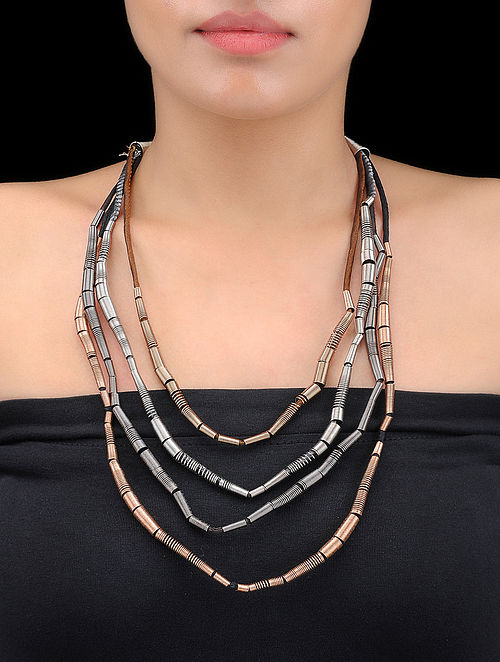 Brown-Black Multi-string Dual Tone Spring Steel and Silk Necklace
