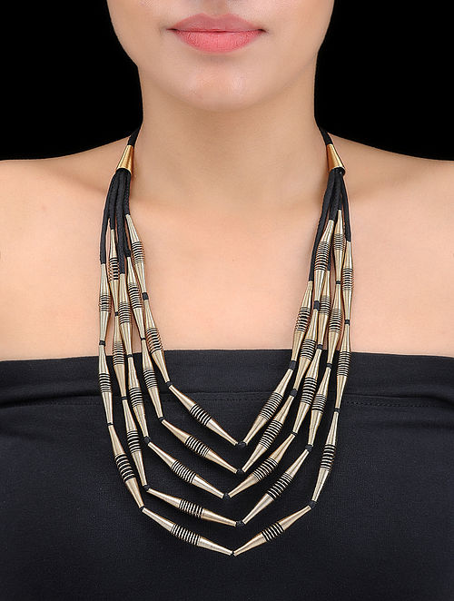 Black Multi-string Gold-plated Spring Steel and Silk Necklace