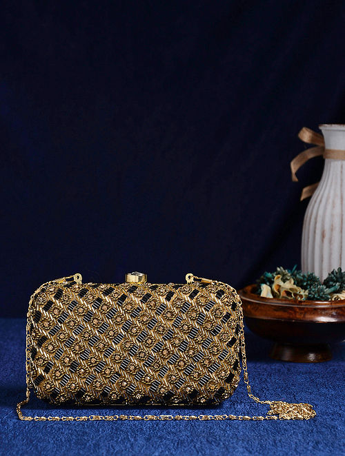 Black Gold Handcrafted Beaded Clutch