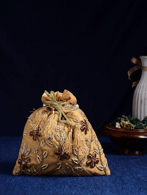 Gold Handcrafted Zardosi Embroidered Potli