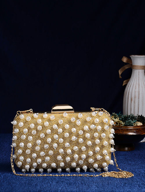 Gold Handcrafted Pearl Beaded Clutch