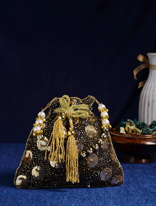 Black Gold Handcrafted Potli with Sequins