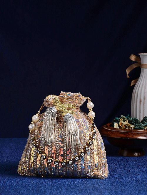 Silver Handcrafted Embroidered Potli with Sequins