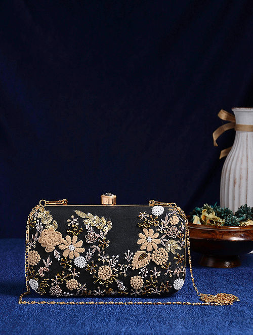 Black Handcrafted Embroidered Clutch with Thread Work