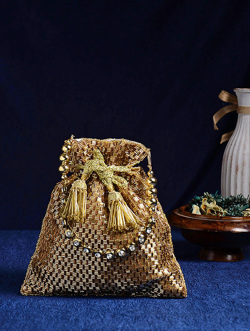 Gold Handcrafted Beaded Potli