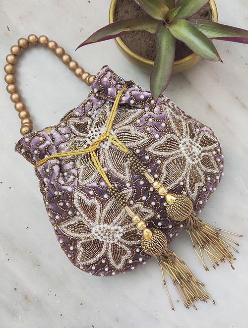 Lavender Hand Embroidered Velvet Potli