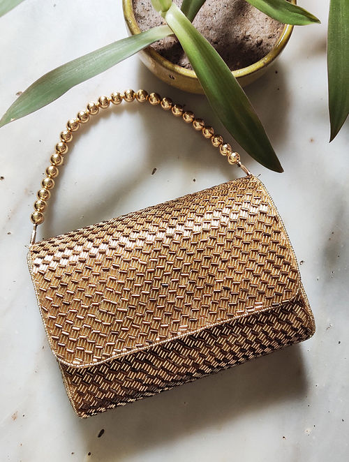 Gold Beaded Raw Silk Clutch