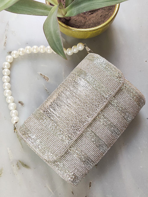 Silver Beaded Raw Silk Clutch