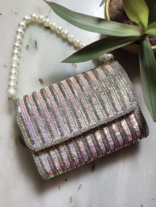 Silver Sequined Raw Silk Clutch