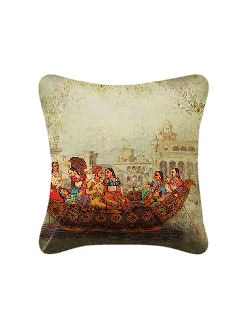 Nauka Multicolored Printed Satin Cushion Cover (16in x 16in)