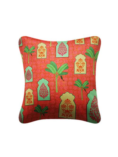 Jharokha Orange-Green Printed Satin Cushion Cover (16in x 16in)