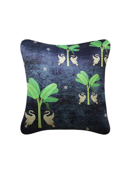 Hans Blue-Green Printed Satin Cushion Cover (16in x 16in)