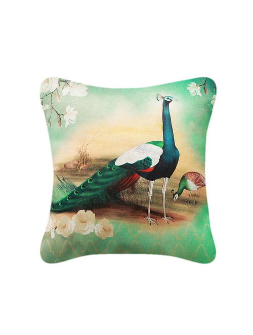 Mor Morni Multicolored Printed Satin Cushion Cover (16in x 16in)