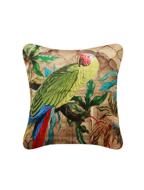 Tota Multicolored Printed Satin Cushion Cover (16in x 16in)