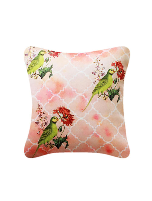 Parrot Red-Green Printed Satin Cushion Cover (16in x 16in)